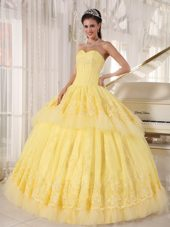 Yellow Sweetheart Organza Appliques Quinceanera Dress in 2013