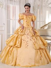 Gold Off The Shoulder Taffeta Embroidery Quinceanera Dress