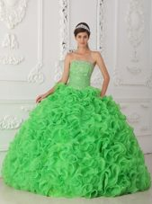 Green Beading Quinceanera Dress Strapless Organza Ruffles