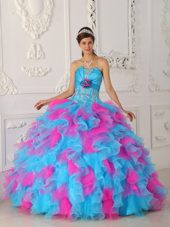 Strapless Appliques and Hand Flower Quinceanera Dress Multi-color