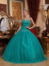 Teal Tulle Beading Quinceanera Dress Spaghetti Straps