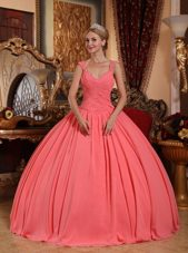 Watermelon V-neck Chiffon Beading Quinceanera Dress