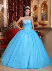 Strapless Organza Appliques Quinceanera Dress Baby Blue