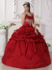 Scoop Taffeta Beaded Quinceanera Gown in Wine Red