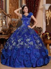 Satin Quinceanera Dress Beads Appliques Blue V-neck