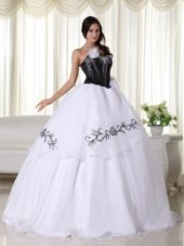 White and Black Quinceanera Dress Organza Embroidery