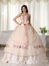 Embroidery Champagne Organza Quinceanera Dress Sweetheart