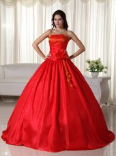 Strapless Taffeta Floral Ruched Red Quinceanera Dress