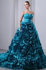 Teal Brush Quinceanea Dress Ruch with Hand Flowers