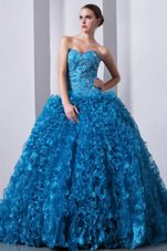 Blue Princess Ruffles Sweetheart Beads Quinceanea Dress