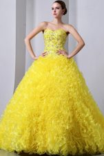 Yellow Sweetheart beads Brush Ruffles Quinceanea Dress
