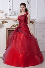 One Shoulder Wine Red Beading Quinceanera Dresses 2013