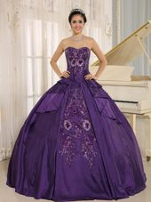 Eggplant Purple Embroidery Quinceanera Dress Sweetheart