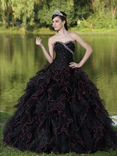 Sweetheart Black Beads Quinceanera Dress Ruffles Layered