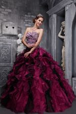 Burgundy Zebra and Organza Ruffles Quinceanera Dress beading