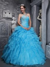Aqua Blue Quinceanera Dress Sweetheart Organza Ruffles
