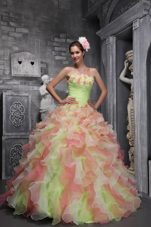 Organza Ruffles Hand Flowers Multi-color Quinceanera Dress
