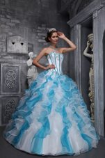 Lace Up Back White And Blue Quinceanera Dress Organza 2013