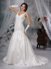 Straps Wedding Dress Princess Court Train Taffeta Beading Taffeta