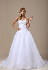 2013 Beaded Bridal Dress Sweetheart Ruched Organza Court Train