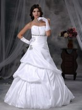 Beautiful Wedding Dress A-line Strapless Taffeta Beading