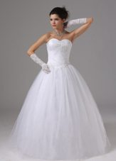 Ball Gown Wedding Dress With Appliques Sweetheart Tulle Pleats