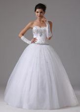 Beaded Ball Gown Garden Wedding Dress Tulle Sweetheart