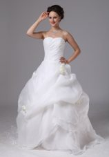 Customize Organza Hand Made aPick-ups Wedding Dress With Brush