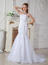 Appliques Bridal Dress Mermaid Strapless Court Train Organza