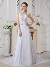 One Shoulder Bridal Gown Organza Court Train Lace A-line