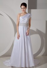 One Shoulder Luxurious Wedding Dress A-line One Shoulder Belt