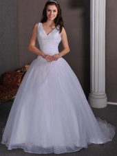 Beading Wedding Dress Simple A-line V-neck Court Pleats