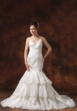 Spaghetti Straps Bridal Wedding Dress Lace Over Shirt Mermaid