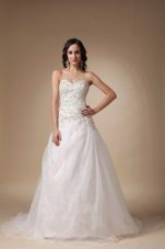 Beading Wedding Gown Sweetheart Court Train Taffeta Organza