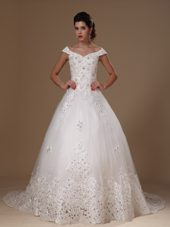 Off Shoulder 2013 Wedding Dress Appliques Tulle Court Train