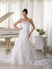 Taffeta Sweetheart Wedding Gown Court Train Beading Layers