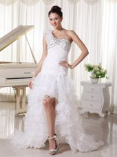 Ruffled Wedding Bridal Dress High-low One Shoulder Beading