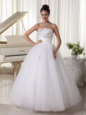 Wedding Gown Tulle Beading and Hand Made Flowers Strapless