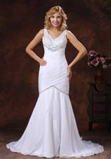 Ruched Beaded Bridal Wedding Dress V-neck Mermaid Chiffon