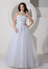 Cheap Bridal Gown Chapel Train Embroidery Tulle Princess