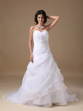 A-line Sweetheart Court Beading Wedding Dress Taffeta Organza