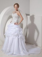 Hand Made Flowers Bridal Dress Court Train Organza Beaded