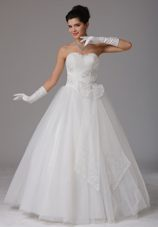 Bows Wedding Bridal Gown Beading Tulle A-line Sweetheart
