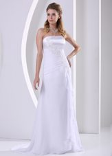 Simple Sheath Appliques Ruch Chiffon Wedding Dress For Beach