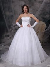 Wedding Dress A-line Strapless Brush Satin Organza Embriodery