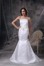 Mermaid Strapless Brush Satin Belt Wedding Dress For Discount