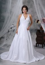Halter Pick-ups Decorate Exclusive Style Wedding Dress Chapel