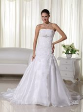 Gorgeous Mermaid Strapless Court Train Lace Bridal Gown