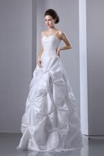 A-line Spaghetti Straps Floor-length Beading and Pick-ups Bridal Gown
