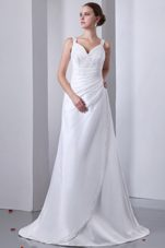Amazing A-line Straps Ruch Beading Court Train Wedding Gown